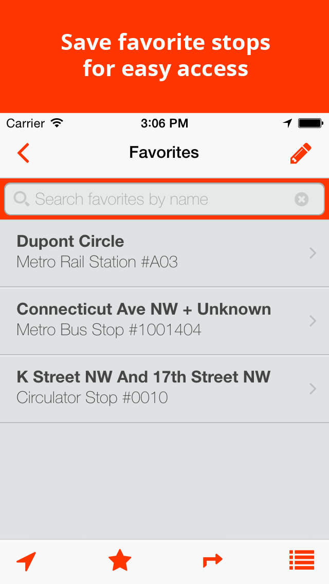 Save favorite stops for easy access